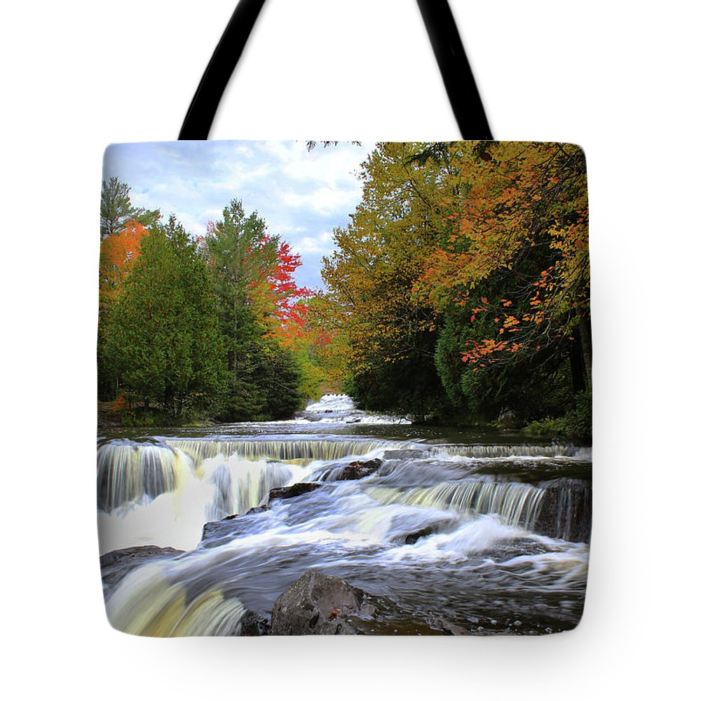 Bond Falls Tote Bag featuring the photograph Bond Falls In Autumn by Brook Burling