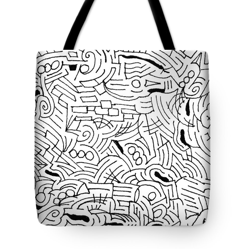 Mazes Tote Bag featuring the drawing Bonding by Steven Natanson