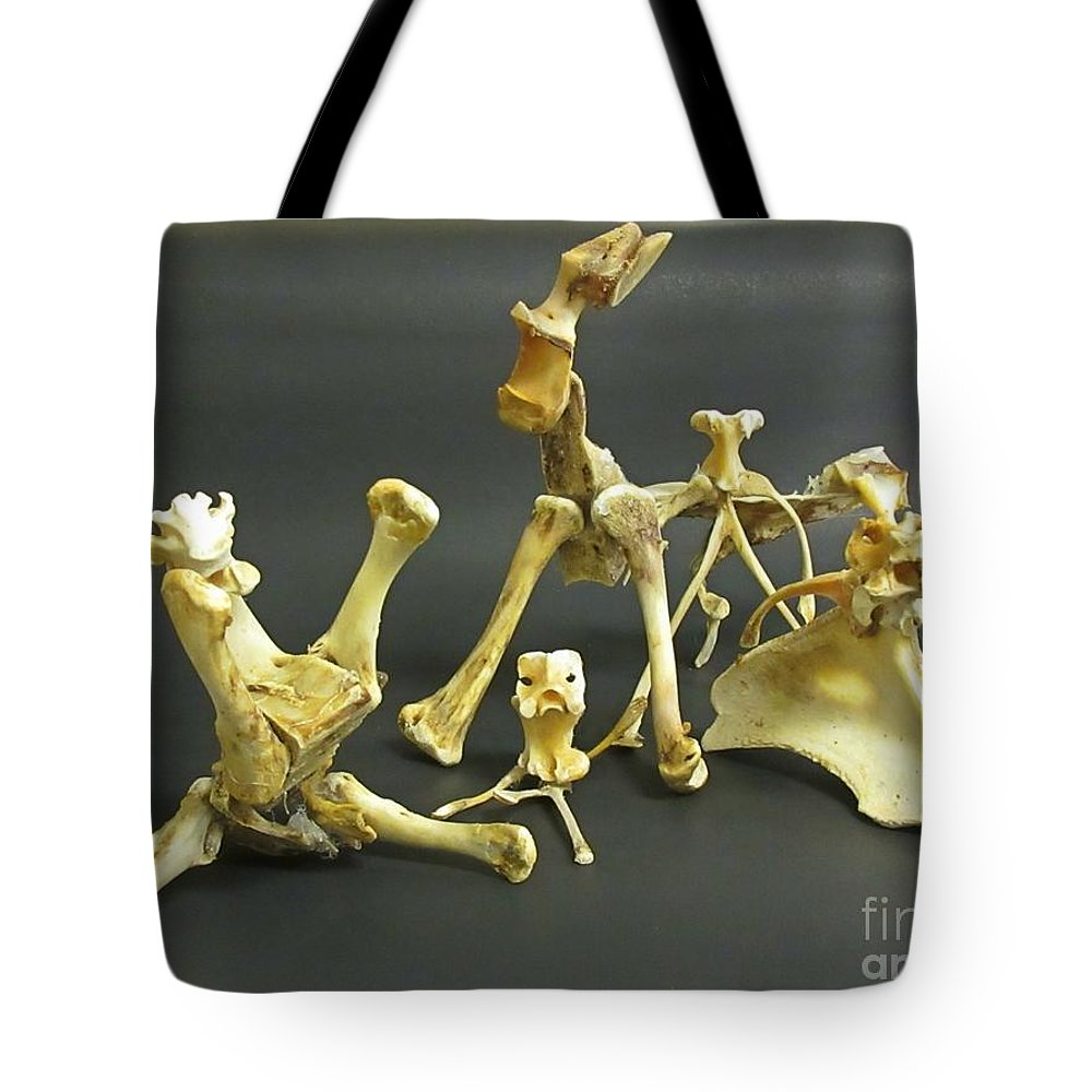 Bone Creatures One Tote Bag featuring the mixed media Bone Creatures One by John Malone