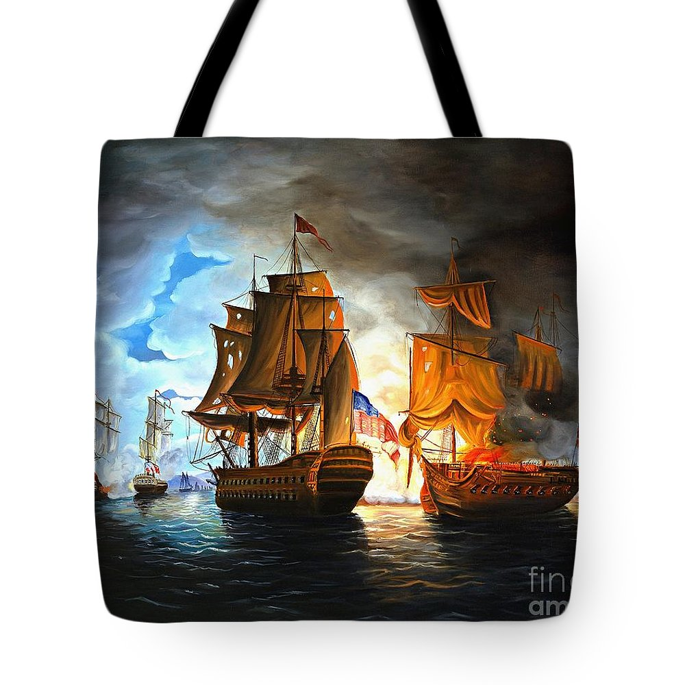 Naval Battle Tote Bag featuring the painting Bonhomme Richard engaging The Serapis in Battle by Paul Walsh