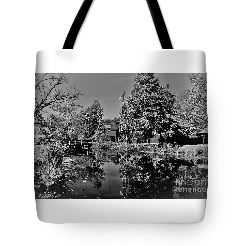 Black & White Tote Bag featuring the photograph Bonneyville Grist Mill     Black And White    Autumn    Indiana by Rory Cubel