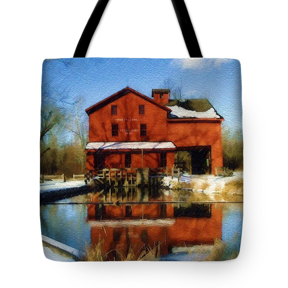 Bonneyville Mill Tote Bag featuring the photograph Bonneyville In Winter by Sandy MacGowan