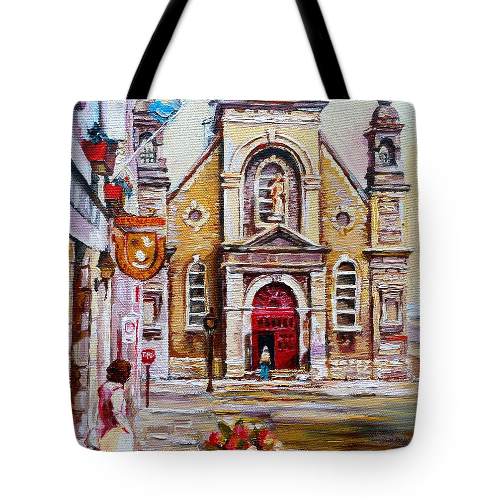 Montreal Churches Tote Bag featuring the painting Bonsecours Church by Carole Spandau