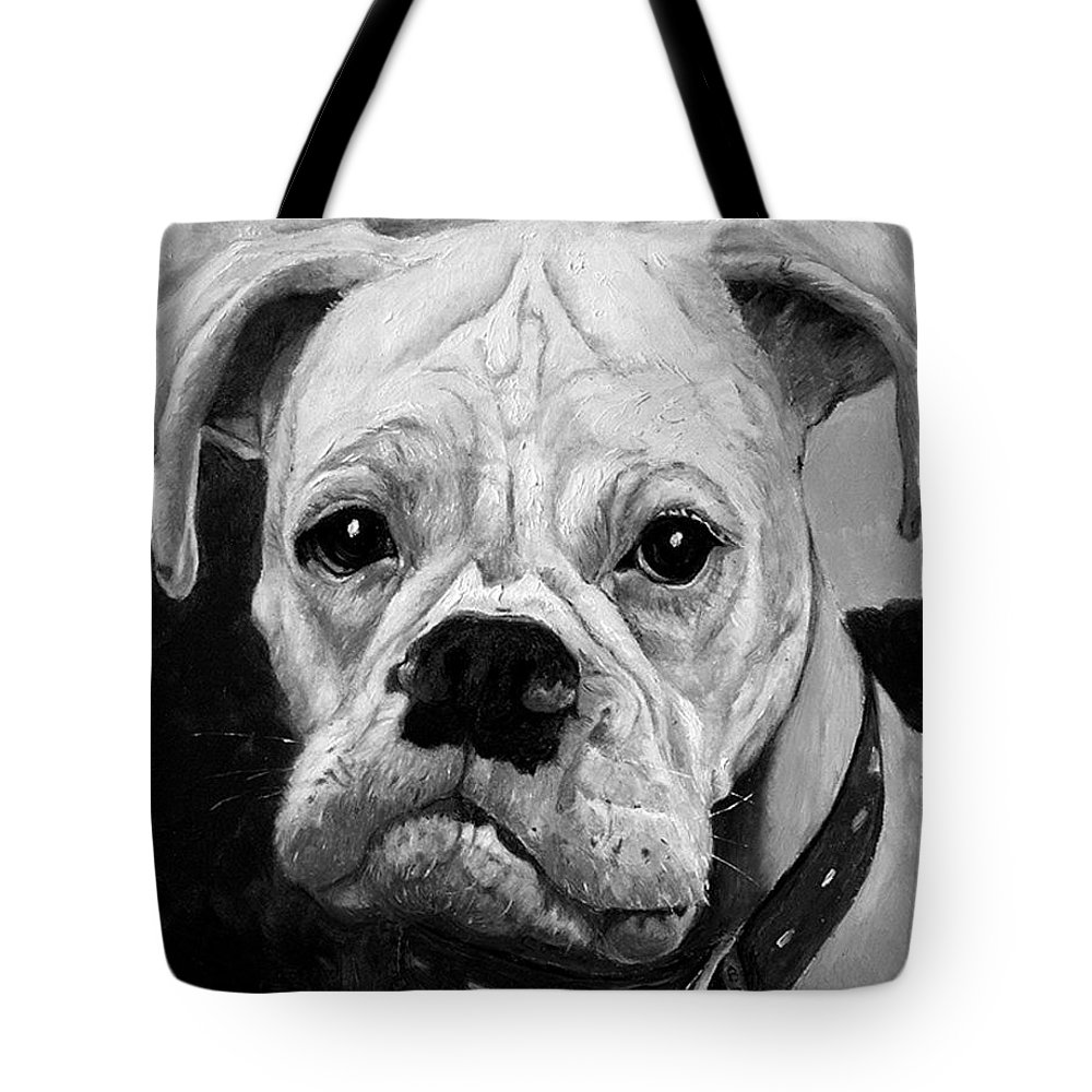 Boxer Tote Bag featuring the painting Boo the Boxer by Portraits By NC