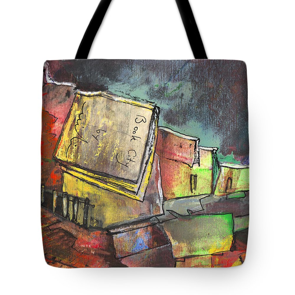 Books Tote Bag featuring the painting Book City by Miki De Goodaboom