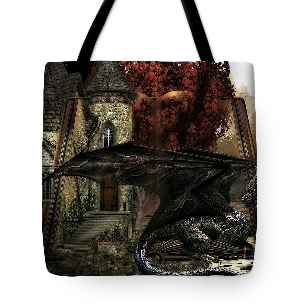 Castle Tote Bag featuring the mixed media Book Of Fantasies 02 by G Berry