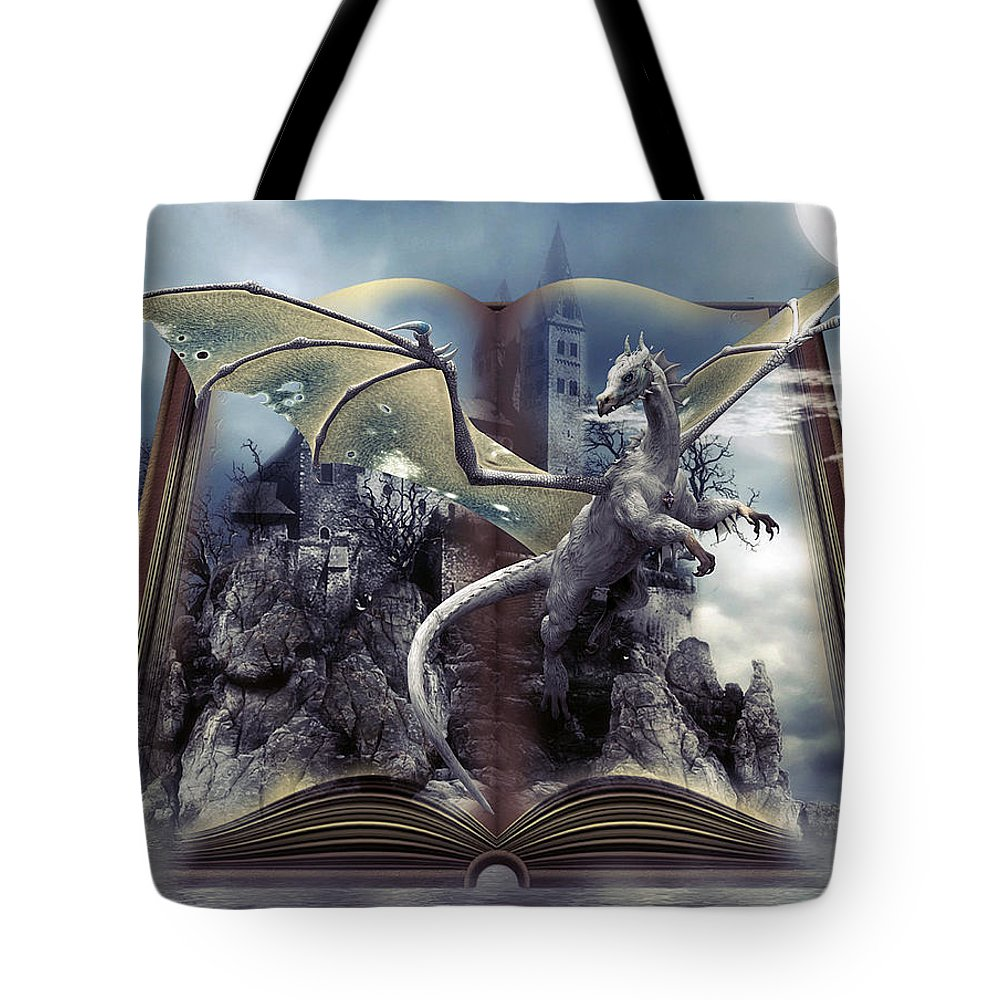 Dragons Tote Bag featuring the mixed media Book Of Fantasies by G Berry