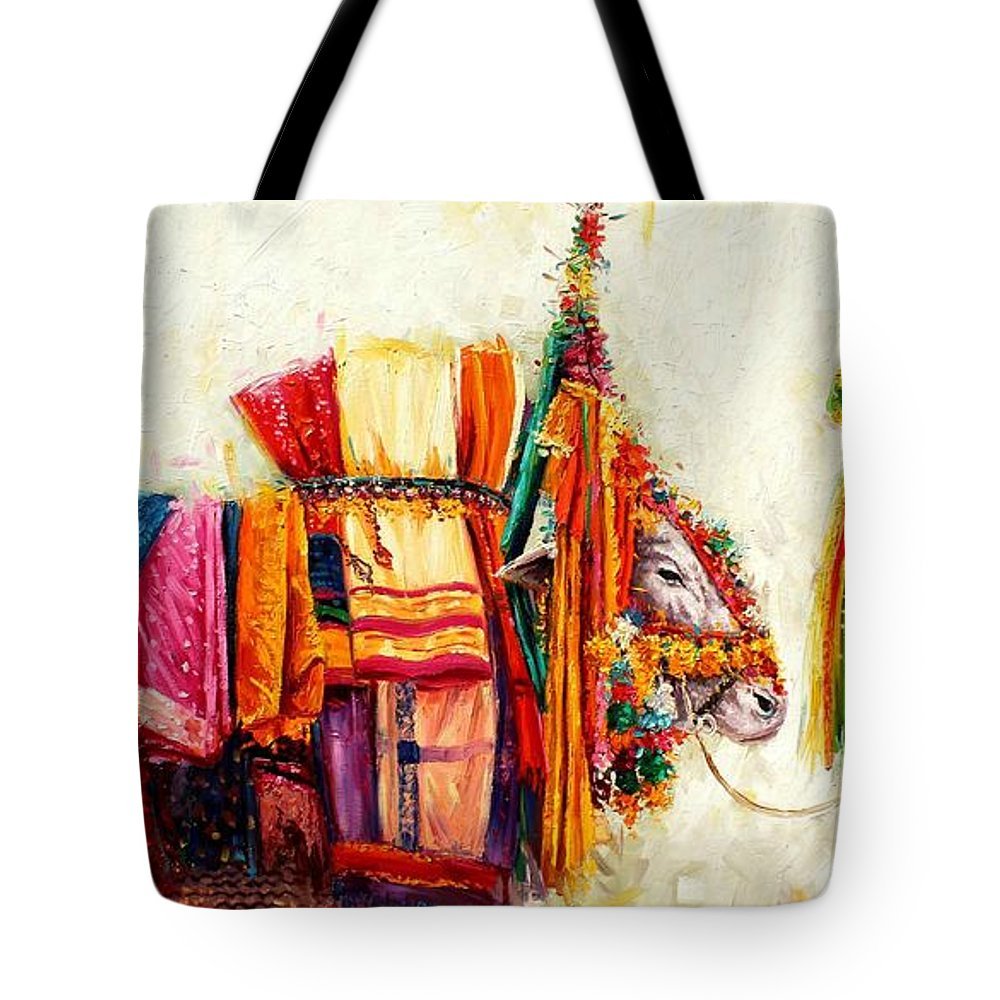South Indian Painting Tote Bag featuring the painting Boom Boom Cow by Sivabalan
