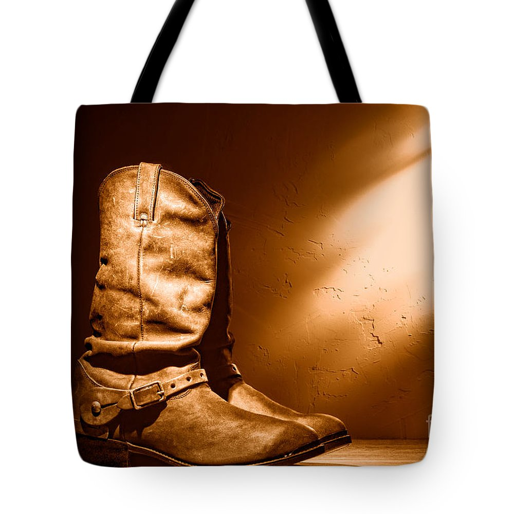 Boots Tote Bag featuring the photograph Boots At The Hacienda - Sepia by Olivier Le Queinec