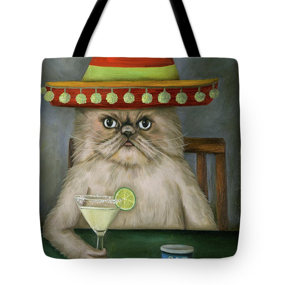 Cat Tote Bag featuring the painting Boozer 3 by Leah Saulnier The Painting Maniac