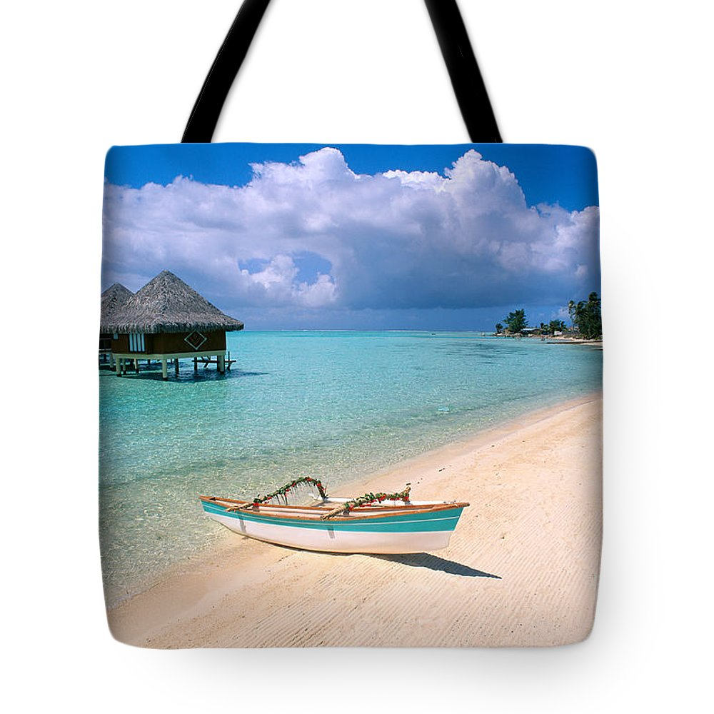 Accommodation Tote Bag featuring the photograph Bora Bora Moana by Greg Vaughn - Printscapes