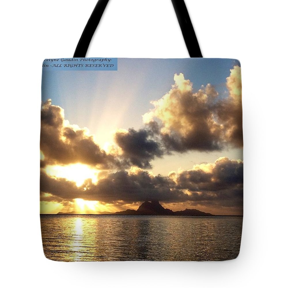 French Polynesia Tote Bag featuring the photograph Bora Bora Sunset by Evelyne Gaudin