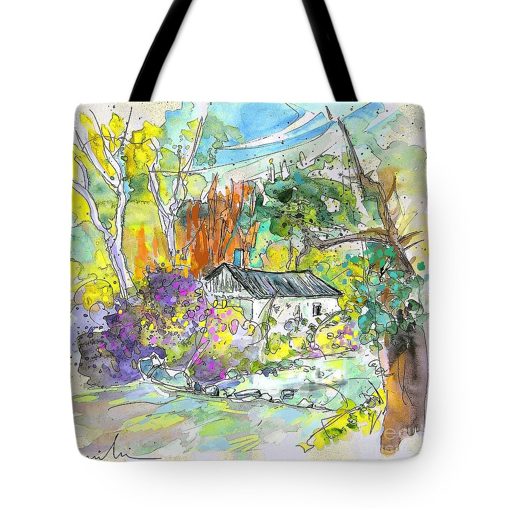 Borderes Tote Bag featuring the painting Borderes Sur Echez 02 by Miki De Goodaboom