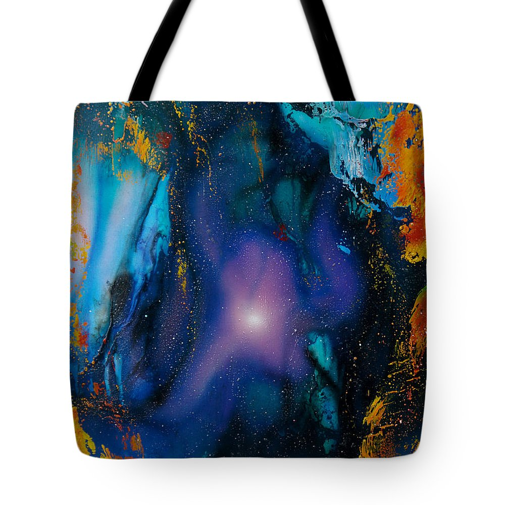 Nebula Caribe Tote Bag featuring the painting Borealis by Angel Ortiz
