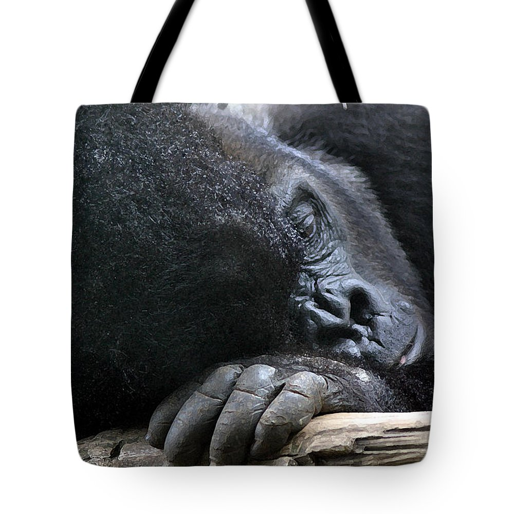 Gorilla Tote Bag featuring the photograph Bored And Lonely by Mary Haber