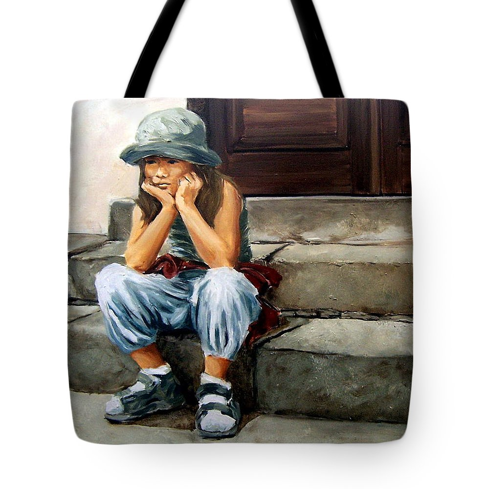 Figurative Little Girl Portrait Realism Child Kid Tote Bag featuring the painting Bored by Natalia Tejera
