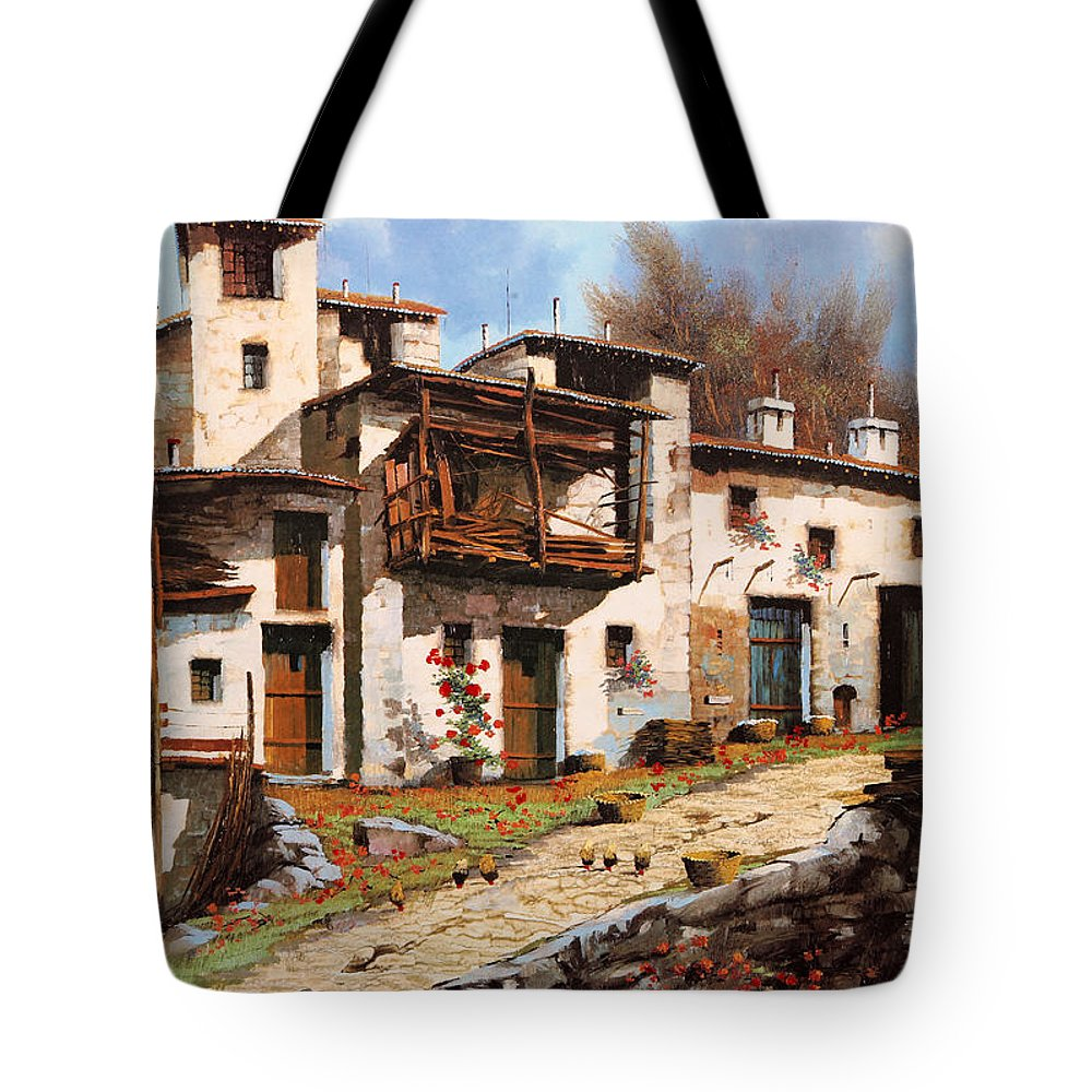 Mountain Village Tote Bag featuring the painting Borgo Di Montagna by Guido Borelli