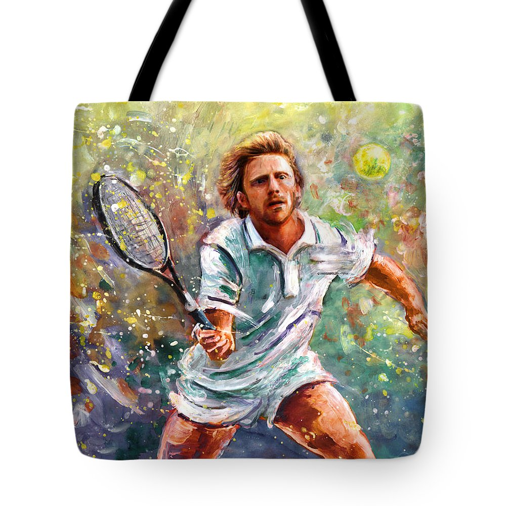 Sport Tote Bag featuring the painting Boris Becker by Miki De Goodaboom