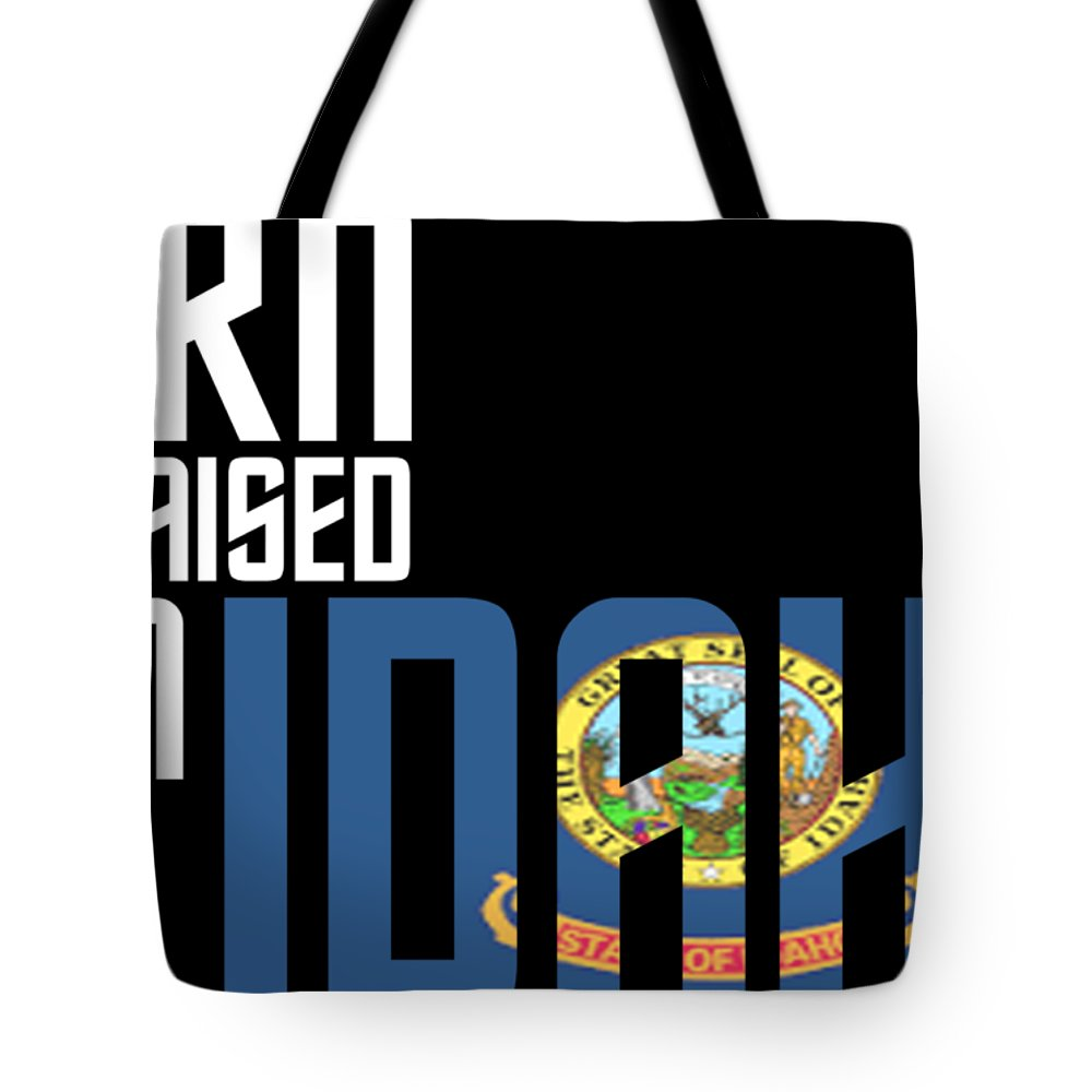 Idaho Tote Bag featuring the digital art Born And Raised In Idaho Birthday Gift Nice Design by StyloMart Tees