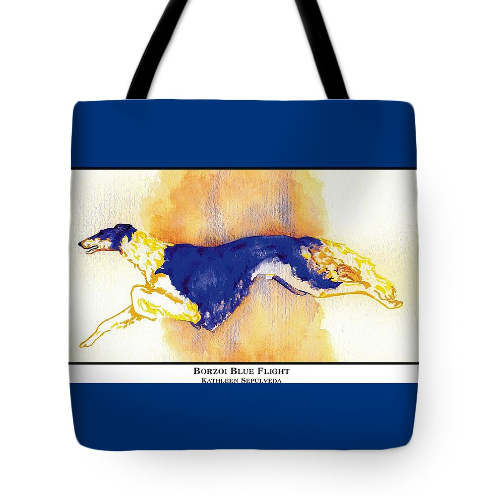 Borzoi Tote Bag featuring the digital art Borzoi Blue Flight by Kathleen Sepulveda