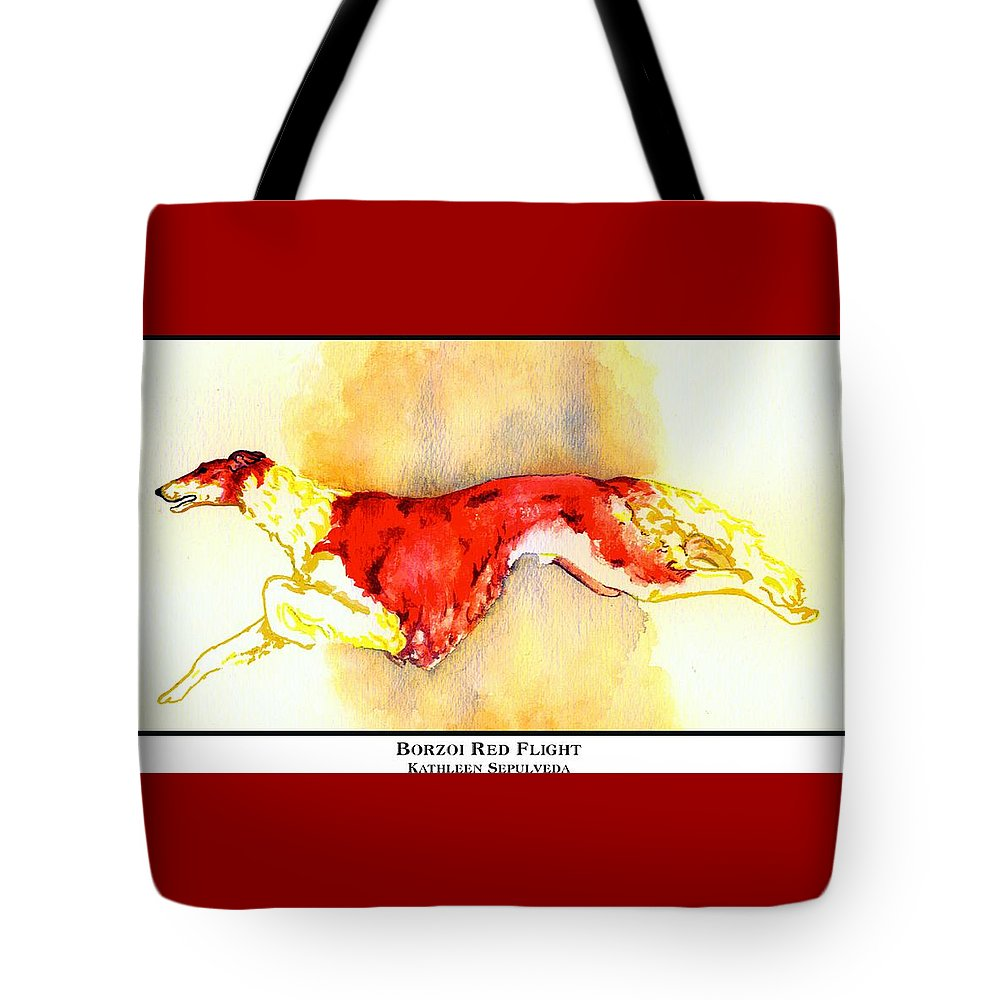 Borzoi Tote Bag featuring the digital art Borzoi Red Flight by Kathleen Sepulveda
