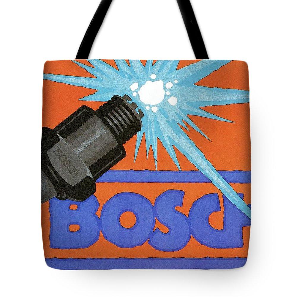Vintage Tote Bag featuring the mixed media Bosch Spark Plug - Vintage Advertising Poster - Minimal Industrial Art by Studio Grafiikka