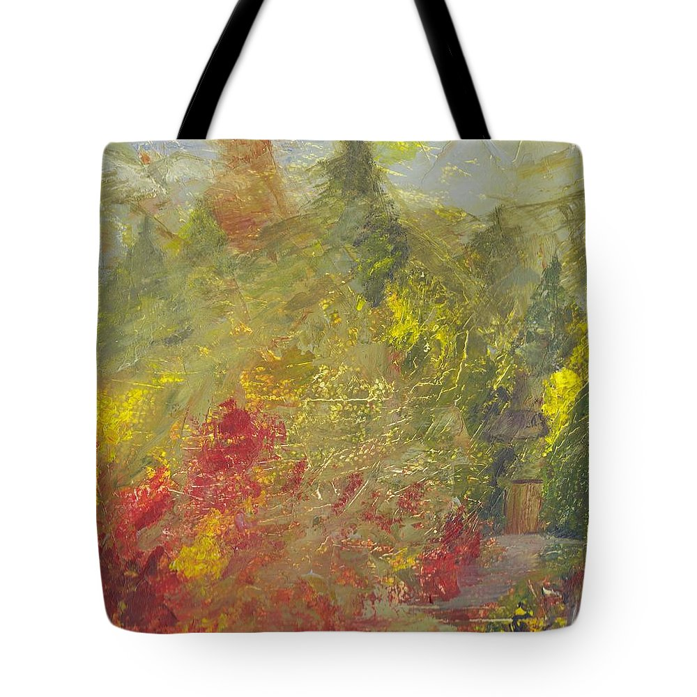 Watercolor Landscape Tote Bag featuring the painting Bosque Forest by Ivonne Sequera