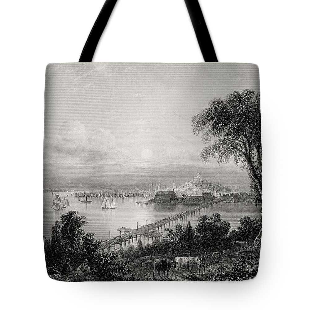 American Tote Bag featuring the drawing Boston And Bunker Hill Massachusetts by Vintage Design Pics