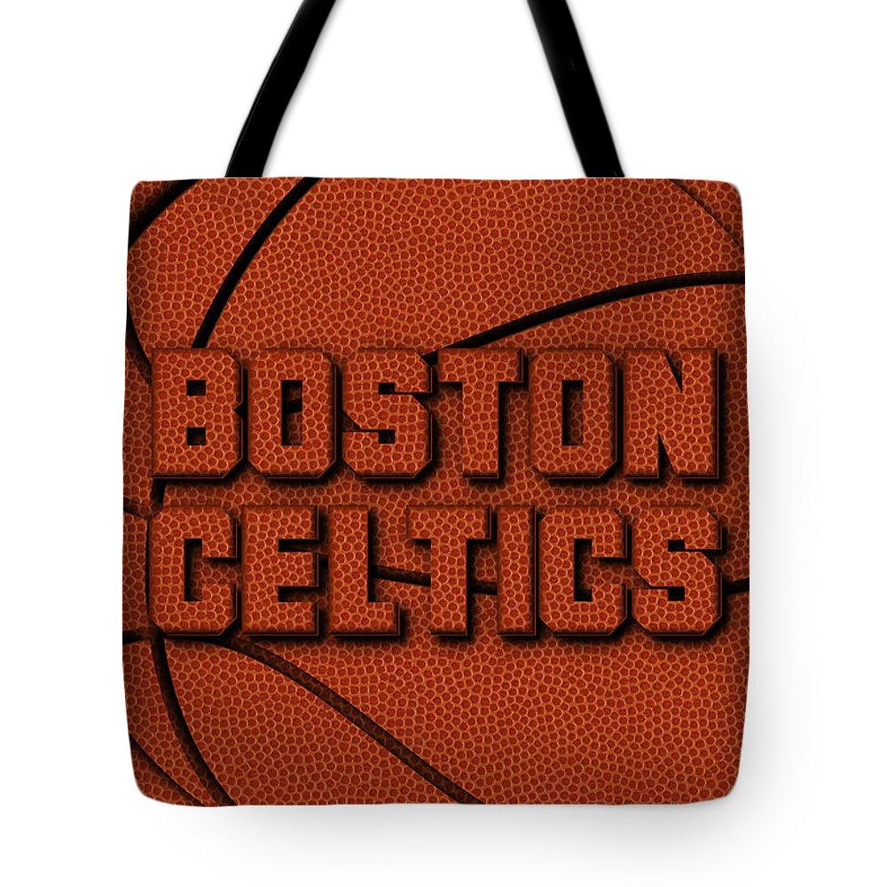 Celtics Tote Bag featuring the photograph Boston Celtics Leather Art by Joe Hamilton