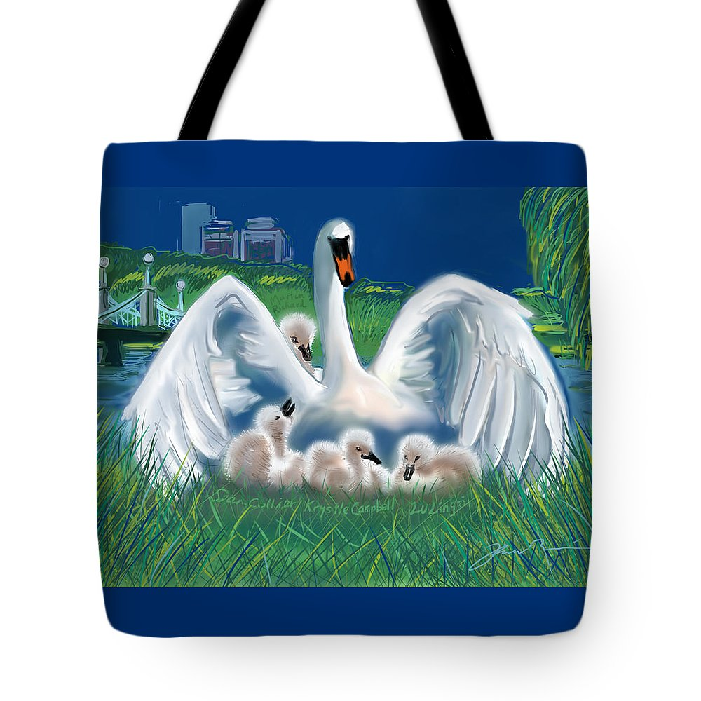 Martin Richard Tote Bag featuring the digital art Boston Embraces Her Own by Jean Pacheco Ravinski