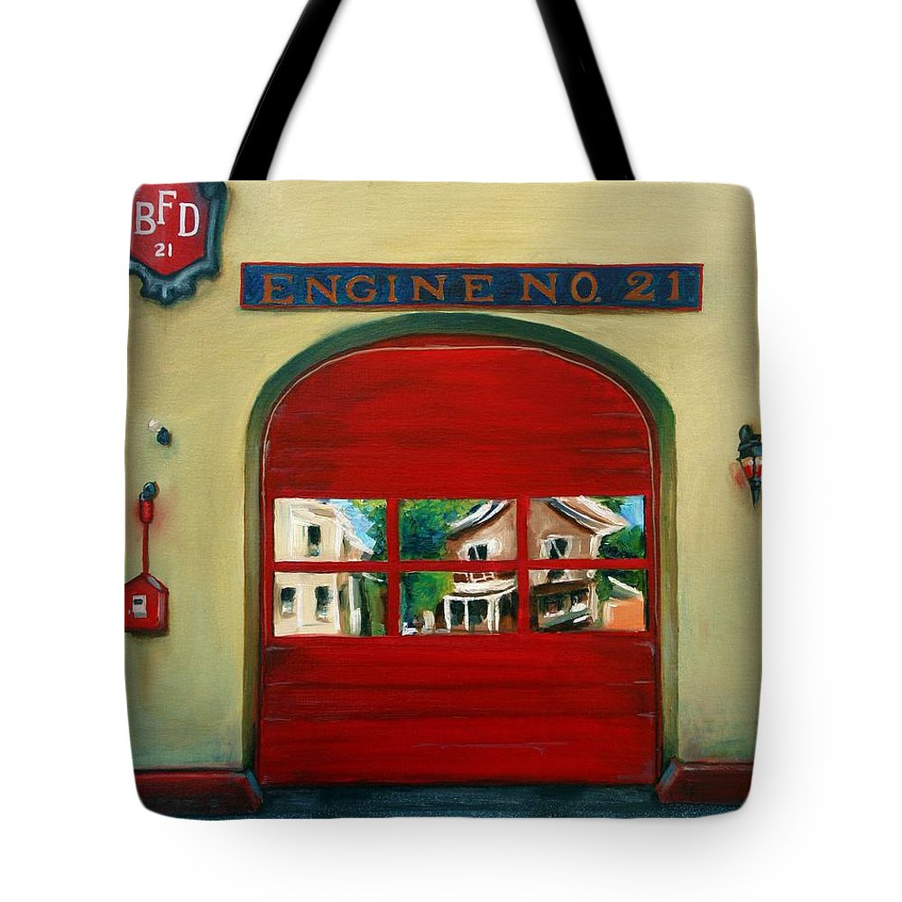 Fire House Tote Bag featuring the painting Boston Fire Engine 21 by Paul Walsh