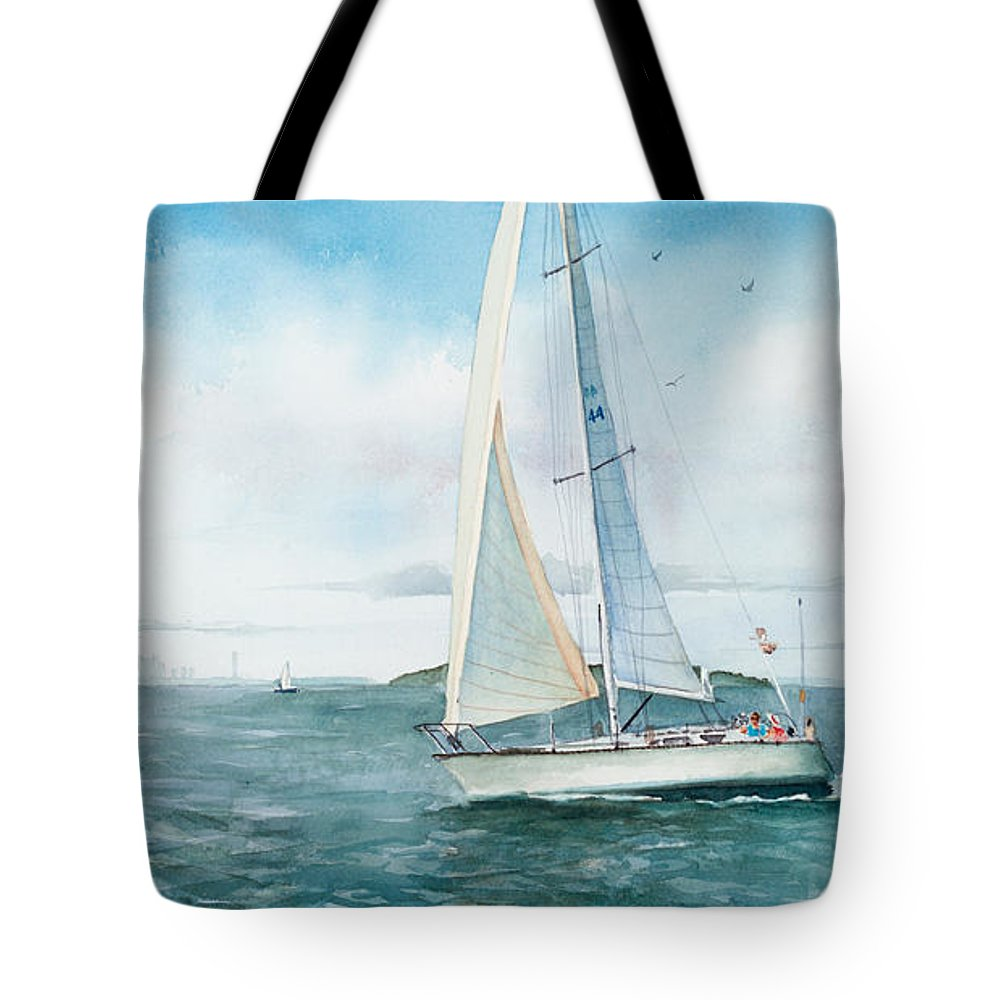 Seascape Tote Bag featuring the painting Boston Harbor Islands by Laura Lee Zanghetti