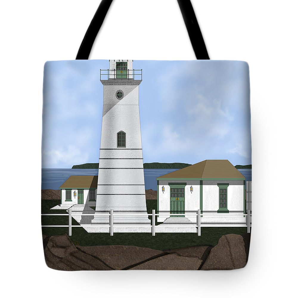 Lighthouse Tote Bag featuring the painting Boston Harbor Lighthouse On Brewster Island by Anne Norskog