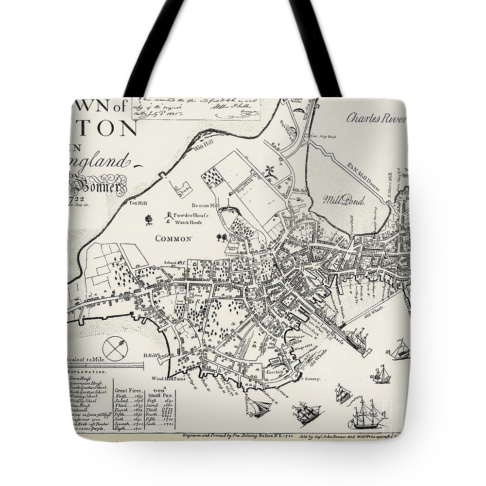 1722 Tote Bag featuring the photograph Boston Map, 1722 by Granger