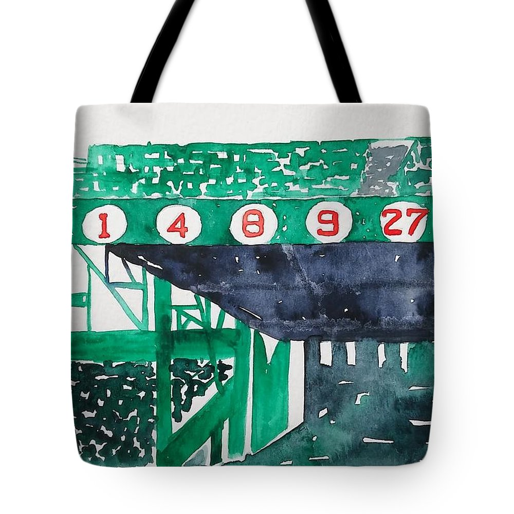 Fenway Park Tote Bag featuring the painting Boston Retired Numbers by James Lagasse