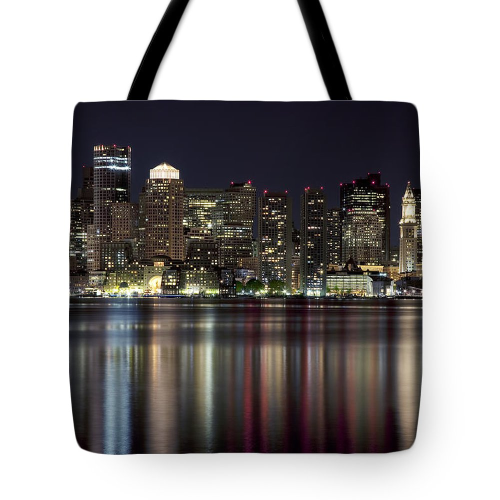 American Tote Bag featuring the photograph Boston Skyline At Night by Jenna Szerlag