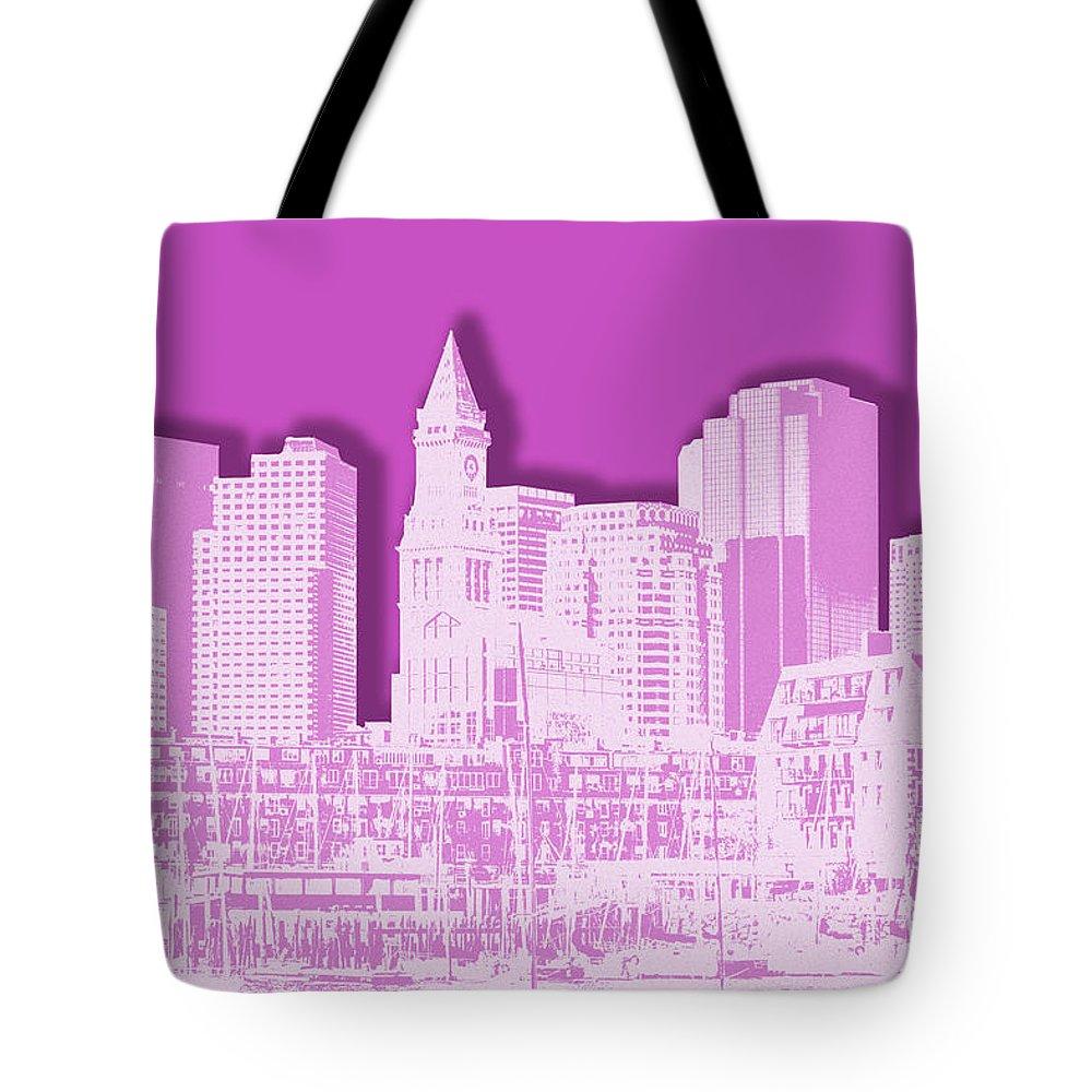 Boston Tote Bag featuring the digital art Boston Skyline - Graphic Art - Pink by Melanie Viola