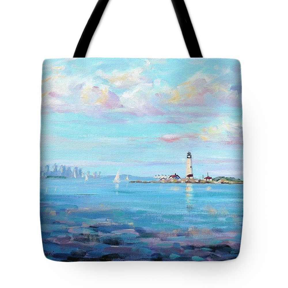 Seascape Tote Bag featuring the painting Boston Skyline by Laura Lee Zanghetti