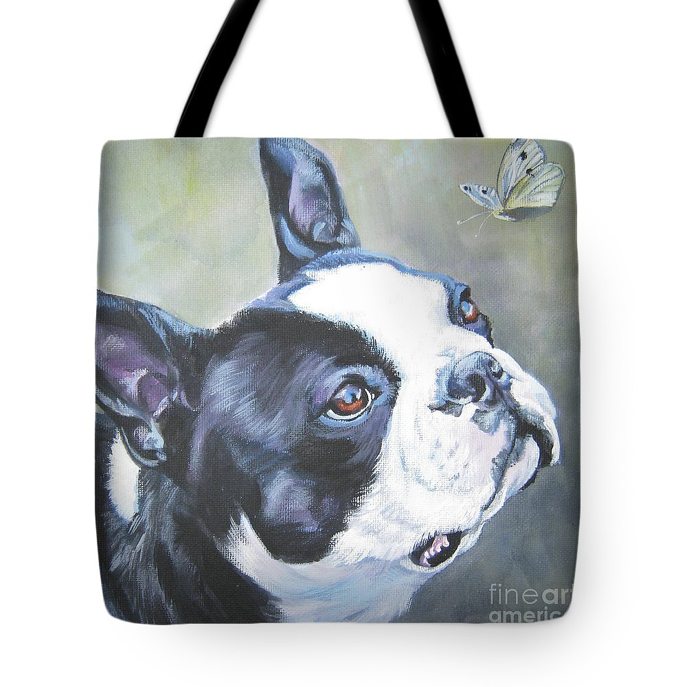 Boston Terrier Tote Bag featuring the painting boston Terrier butterfly by Lee Ann Shepard
