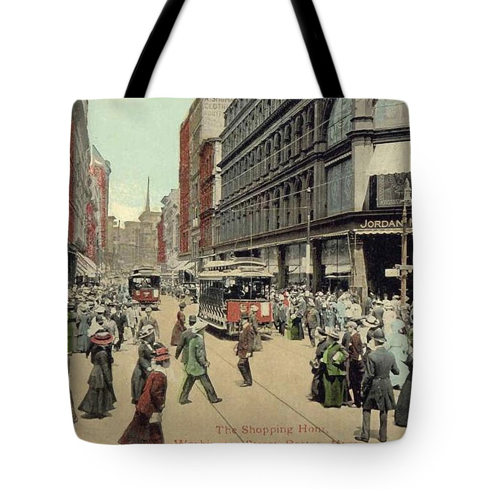 1910 Tote Bag featuring the photograph Boston: Washington Street by Granger