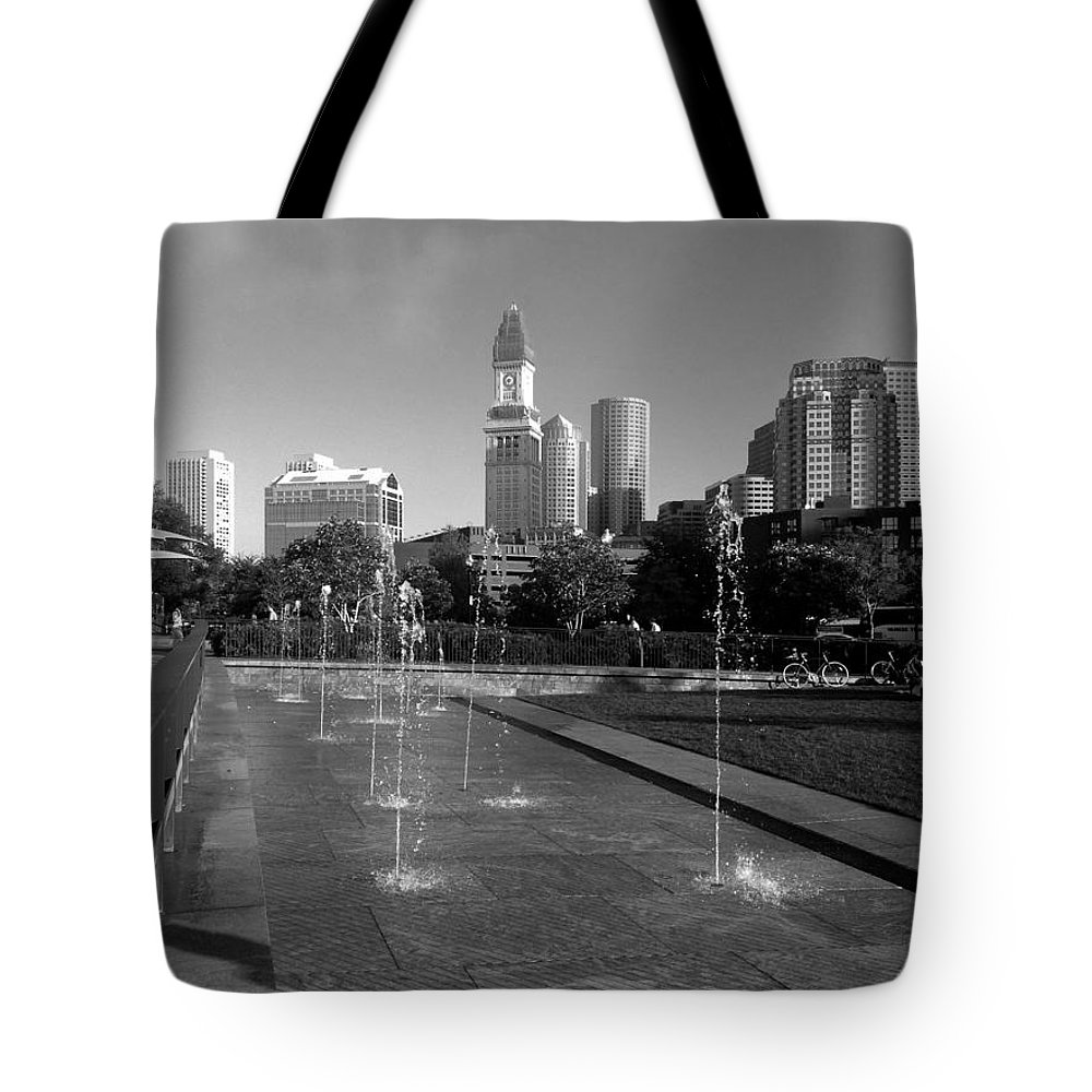 Black And White Tote Bag featuring the photograph Boston's North End Fountains by Gina Sullivan