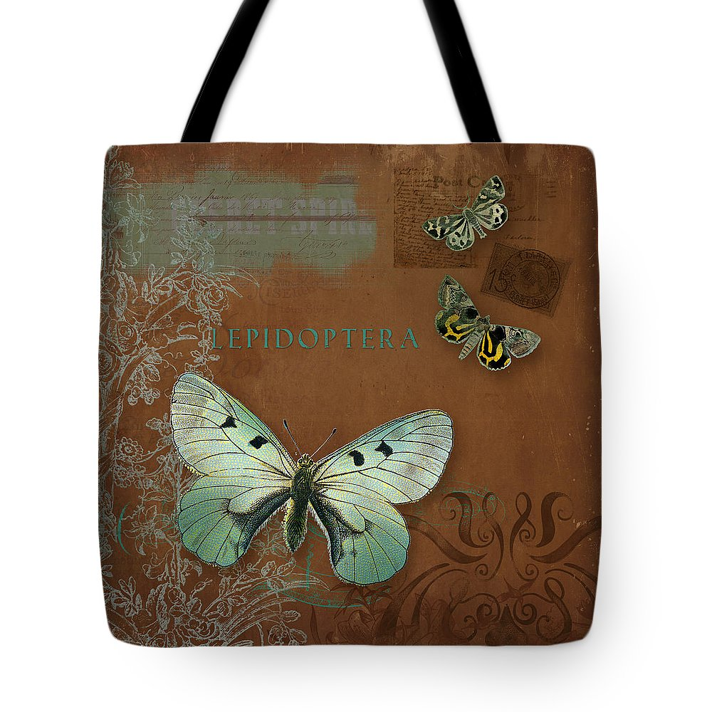 Wildflower Etchings Tote Bag featuring the painting Botanica Vintage  Butterflies N Moths Collage 4 by Audrey e5d04d09d3e38