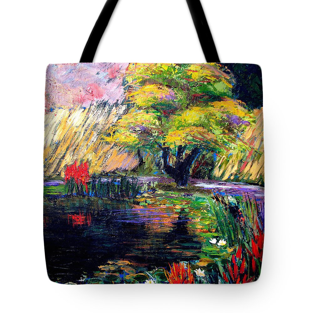 Art Nomad Tote Bag featuring the painting Botanical Garden In Lund Sweden by Art Nomad Sandra Hansen