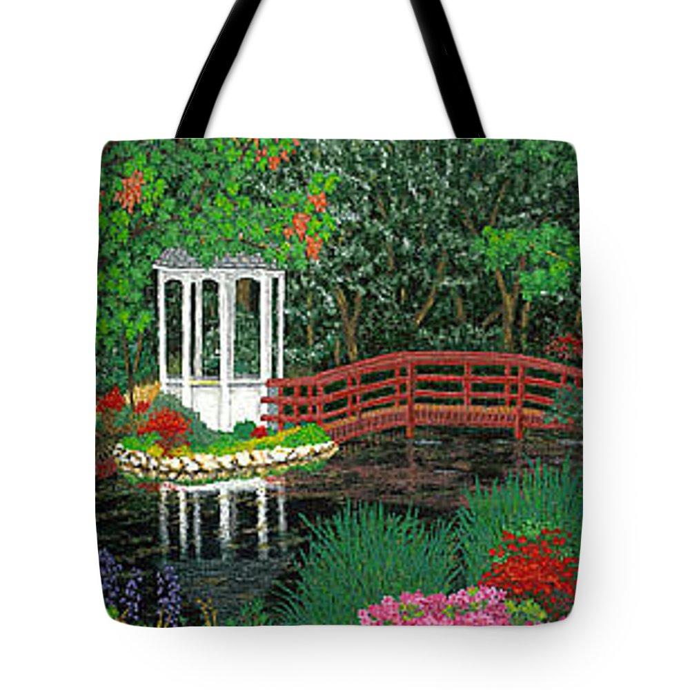 Art Tote Bag featuring the painting Botanical Garden Park Walk Pink Azaleas Bridge Gazebo Flowering Trees Pond by Patti Baslee