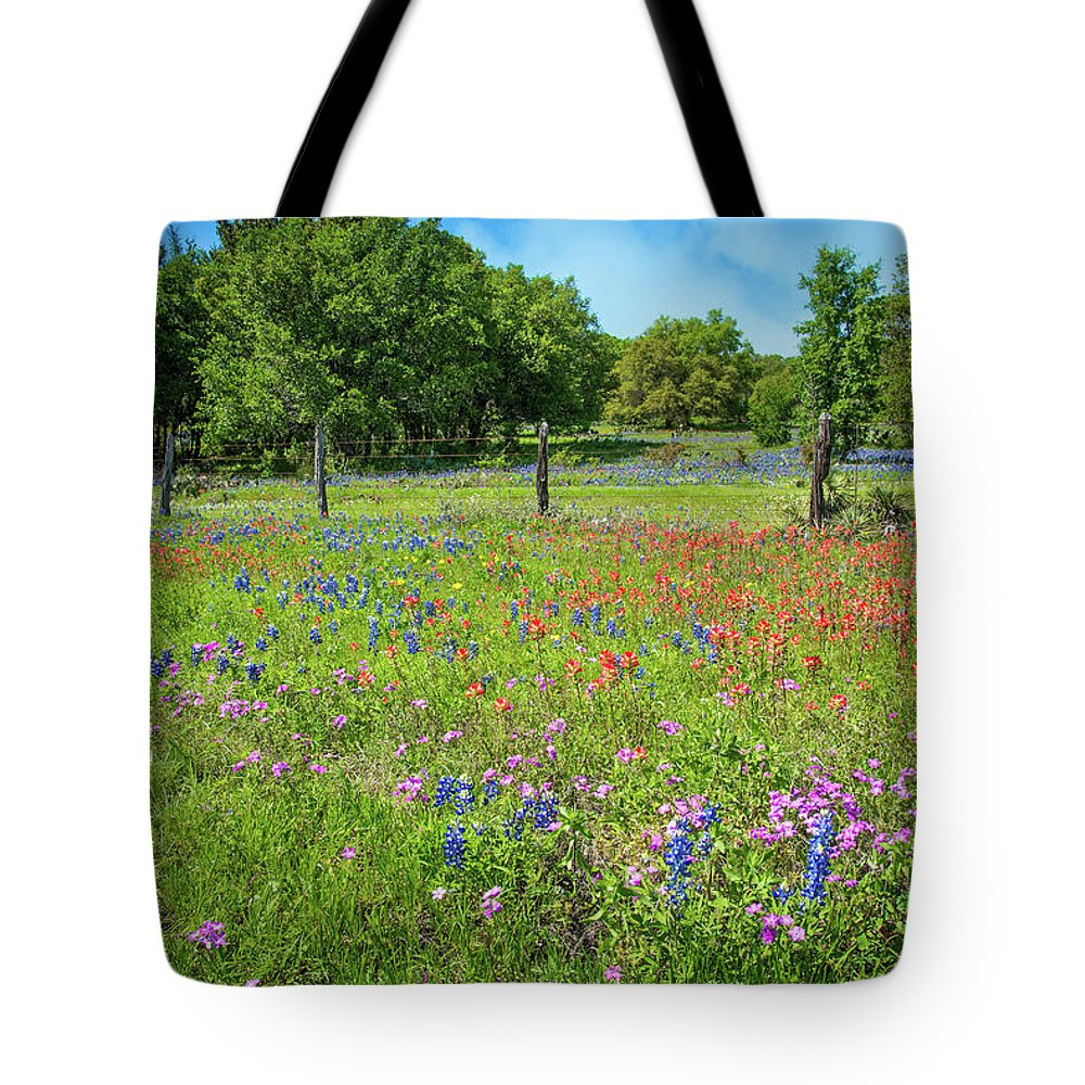 Bluebonnets Tote Bag featuring the photograph Botanical Variety Show In The Texas Hill Country by Lynn Bauer