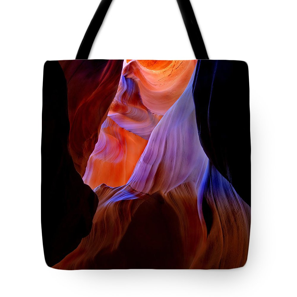 Canyon Tote Bag featuring the photograph Bottled Light by Mike Dawson