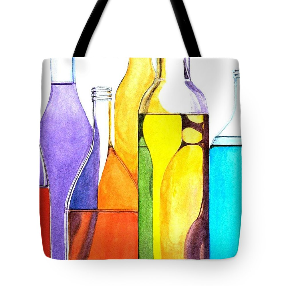 Bottle Tote Bag featuring the painting Bottled Rainbow 1 by Jun Jamosmos