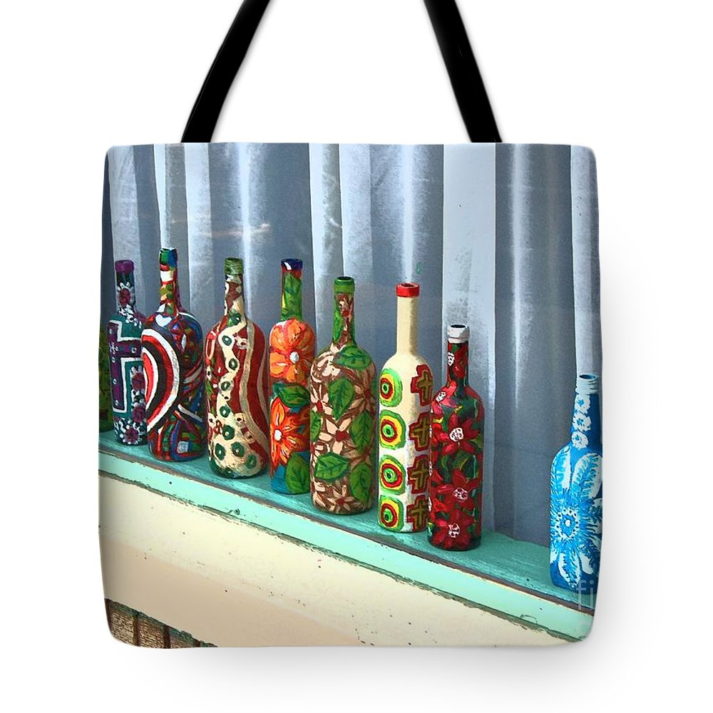 Bottles Tote Bag featuring the photograph Bottled Up by Debbi Granruth