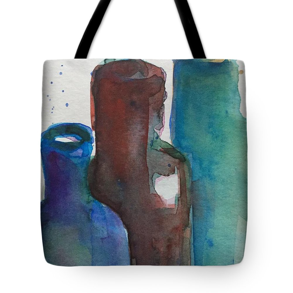 Bottles Tote Bag featuring the painting Bottles 3 by Britta Zehm