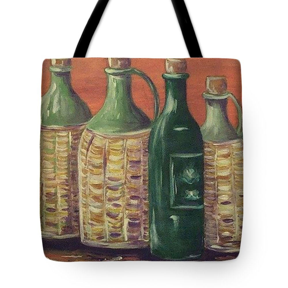Bottle Tote Bag featuring the painting Bottles by Jeanie Watson